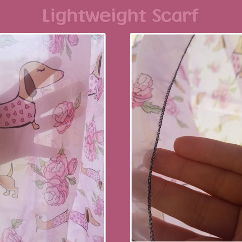 Dachshund Scarf Wrap | Lightweight Pink Floral, The Smoothe Store
