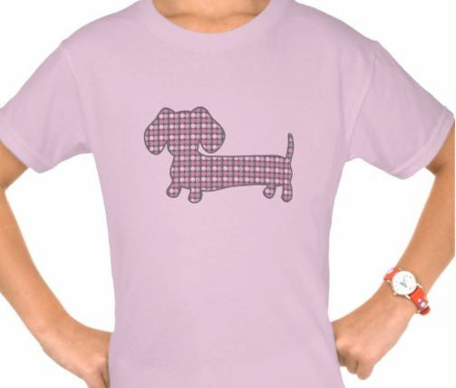 Pink Dottie Dachshund Kids Shirt, The Smoothe Store