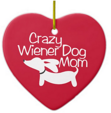 Crazy Wiener Dog Mom Rear View Mirror Car Charm