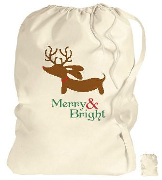 Extra Large Bag | Merry & Bright Reindeer Dachshund, The Smoothe Store