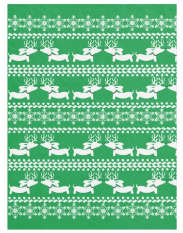 Fair Isle Dachshund Fleece Blanket (Red, Navy, Pink or Green) - The Smoothe Store - 3