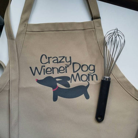 Crazy Wiener Dog Mom Kitchen Apron, The Smoothe Store