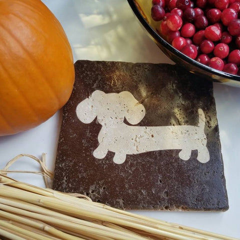 Dachshund Travertine Stone Trivet, The Smoothe Store