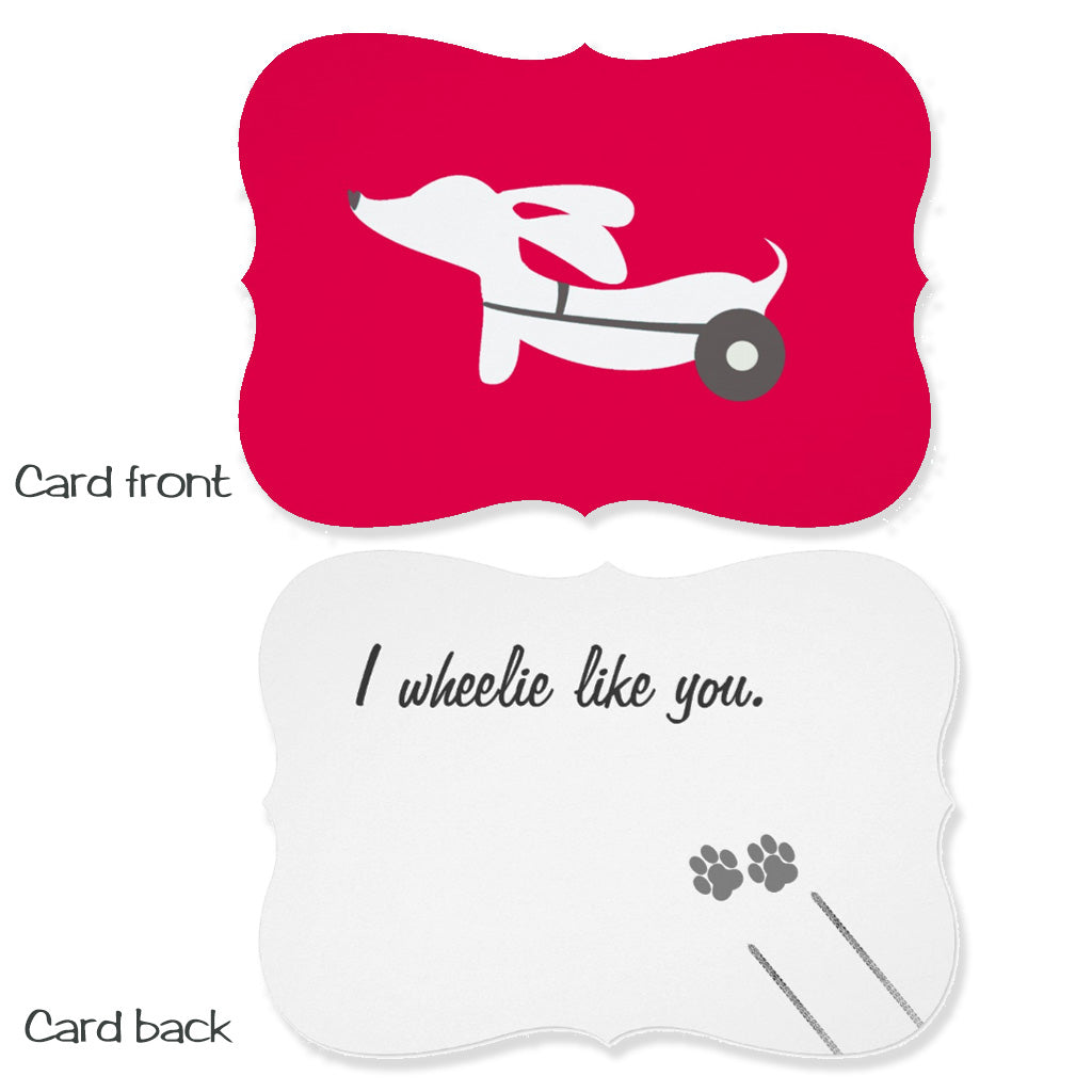 Dachshund on Wheels (IVDD) Flat Greeting Card - I wheelie Like You, The Smoothe Store
