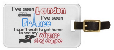 London France Wiener Dog Dance Dachshund Luggage Bag Tags - The Smoothe Store