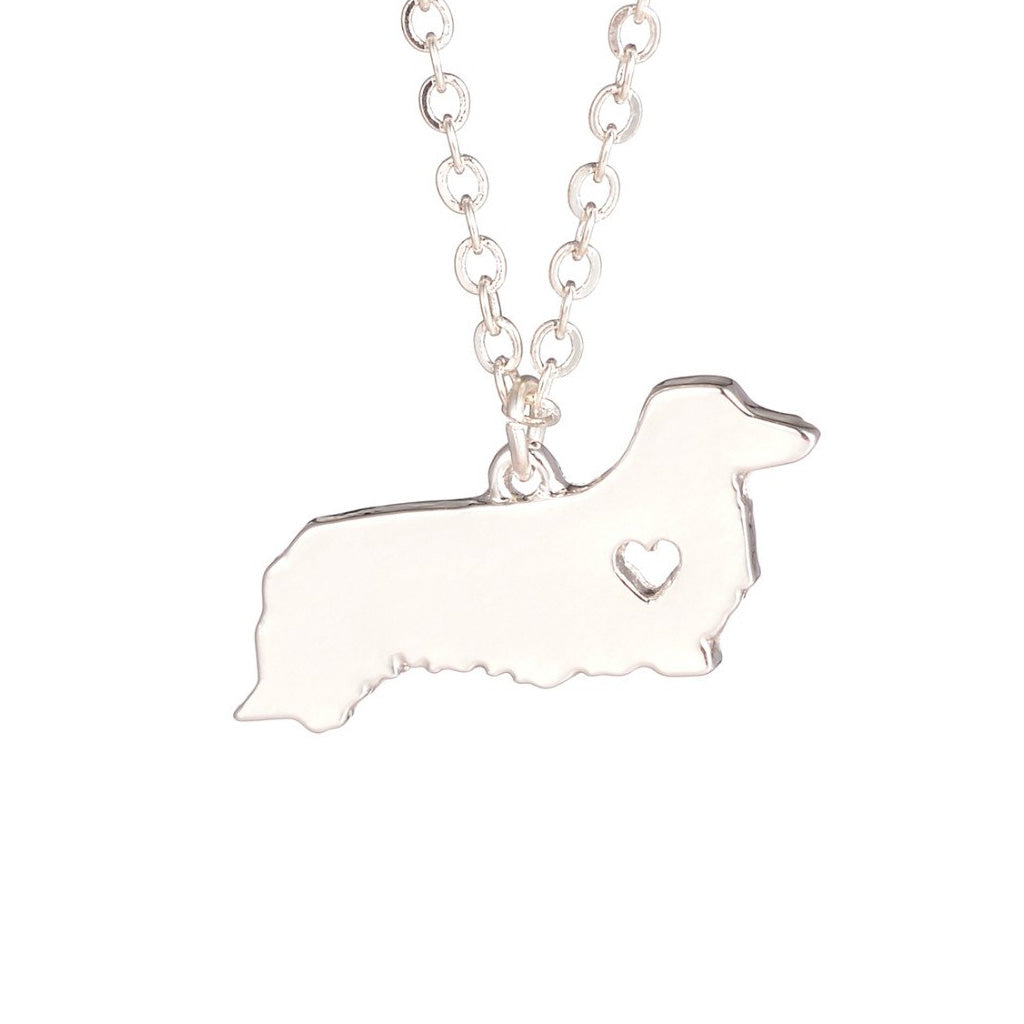 Long Hair Dachshund Love Heart Necklace, The Smoothe Store