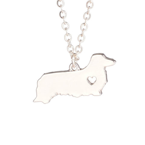 Long Hair Dachshund Love Heart Necklace