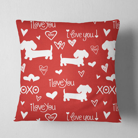 I Love Dachshunds Red Pillow
