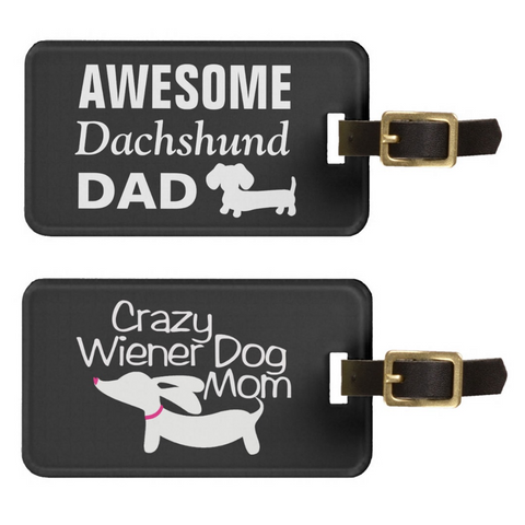 Dachshund Mom Luggage Tags | Wiener Dog Dad Bag Tags