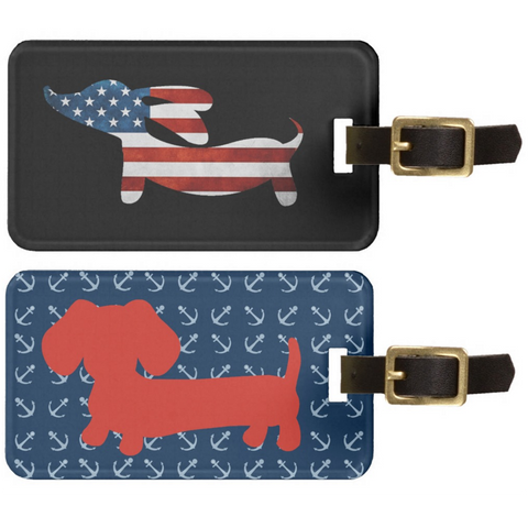 American Wiener or Rainbow Dachshund Luggage Bag Tags