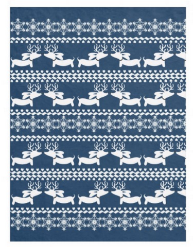 Fair Isle Dachshund Fleece Blanket (Red, Navy, Pink or Green), The Smoothe Store