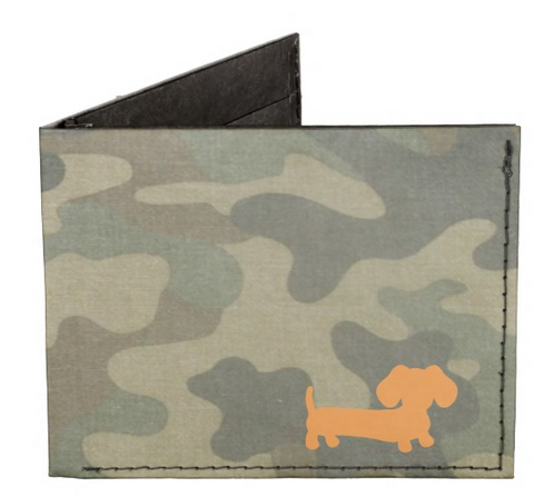 Orange & Camo Dachshund Men's Billfold Wallet