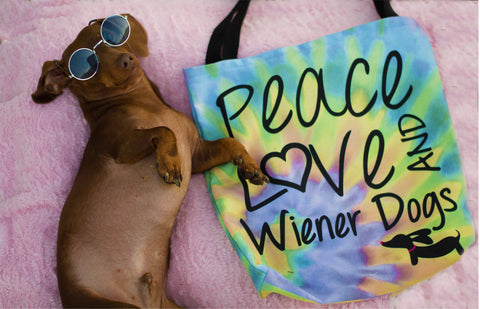 Peace Love & Wiener Dogs Tie Dye Tote Bag