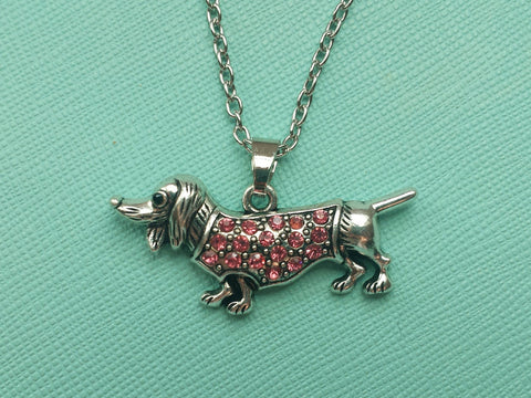 Pink or Clear Vintage Inspired Wiener Dog Necklace