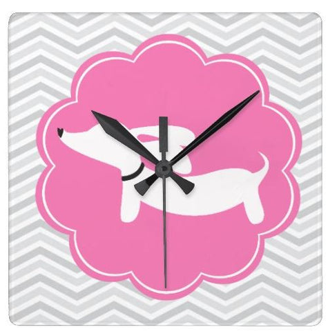 Pink & Gray Dachshund Wall Clock