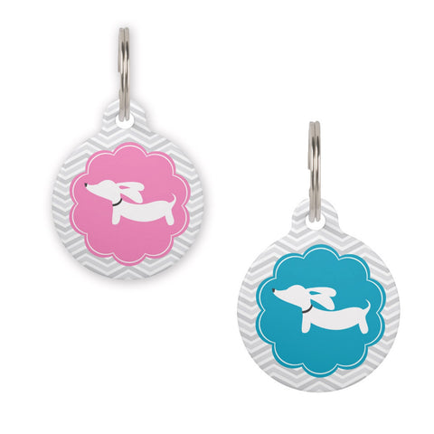 Dachshund on Scalloped Circle Dog ID Tags