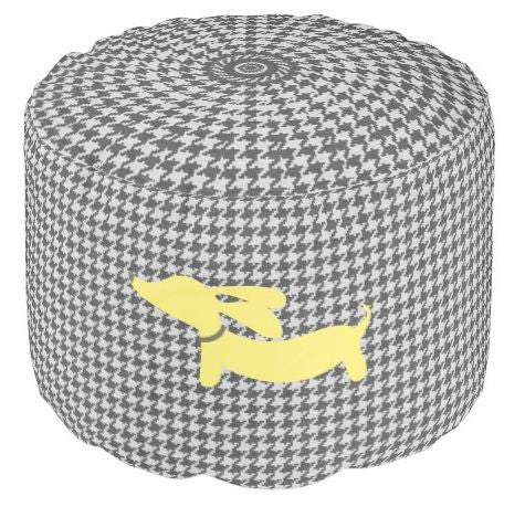 Pouf Footstool | Houndstooth with Dachshunds - The Smoothe Store