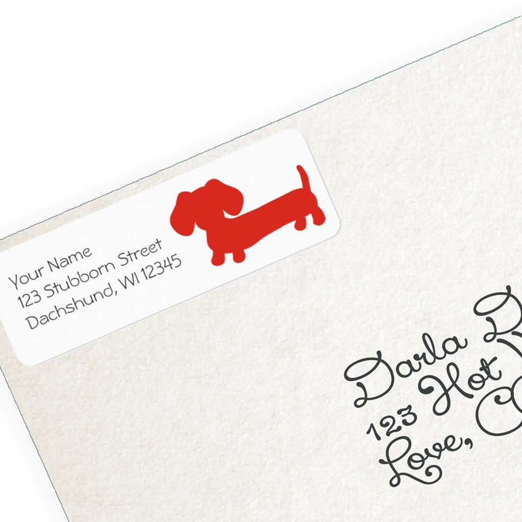 Red Dachshund Return Address Labels, The Smoothe Store