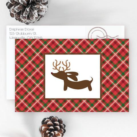 Plaid Reindeer Dachshund Christmas Cards