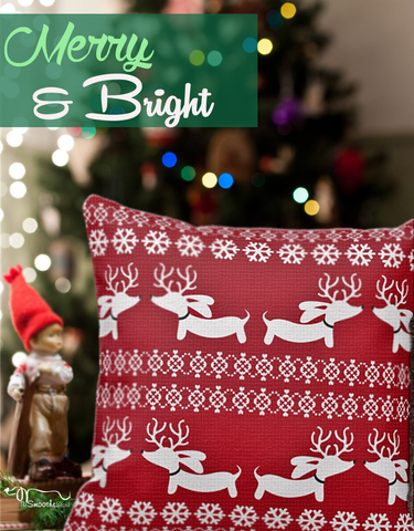 Fair Isle Dachshund Holiday Accent Pillow, The Smoothe Store
