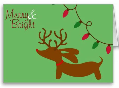 Merry & Bright Dachshund Christmas Greeting Card