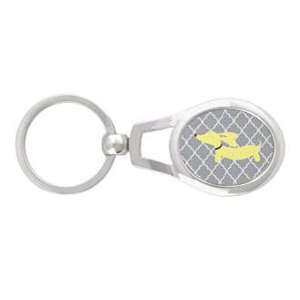 Dachshund on Gray Lattice Key Chain - The Smoothe Store - 2