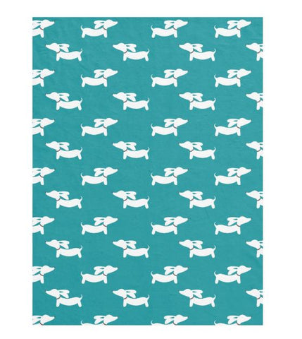 Teal Dachshund Patterned Blanket