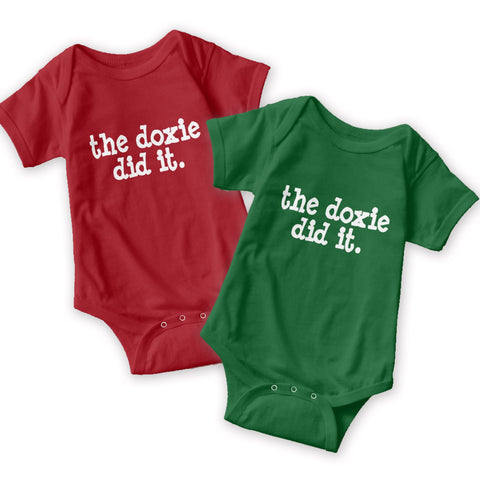 The Doxie Did It | One Piece Baby Onesie