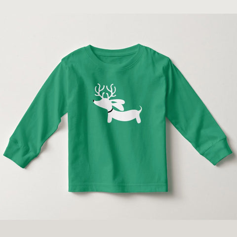 Dachshund Toddler Christmas Reindeer Dachshund Top