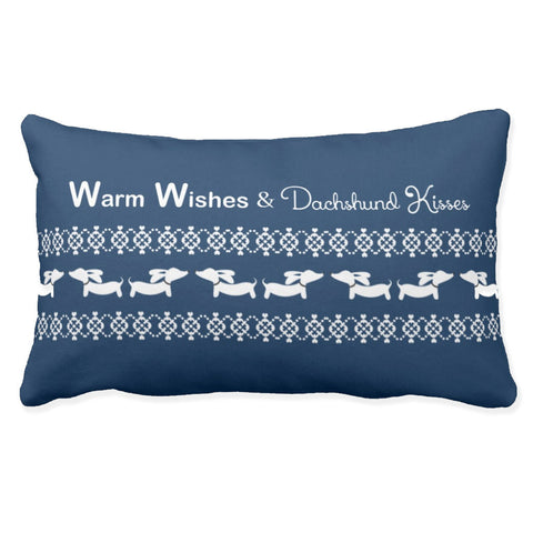Warm Wishes & Dachshund Kisses Lumbar Pillow