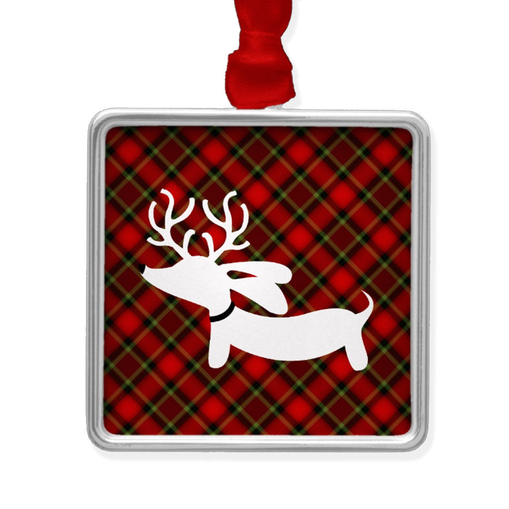 Plaid Reindeer Dachshund Christmas Tree Ornament - The Smoothe Store - 3
