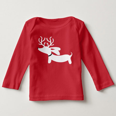 Christmas Red Reindeer Dachshund Toddler Shirt