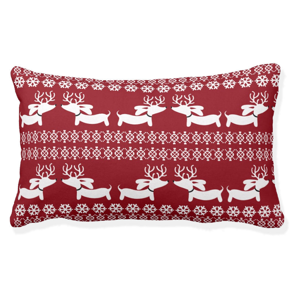 Fair Isle Dachshund Holiday Accent Pillow - The Smoothe Store - 2