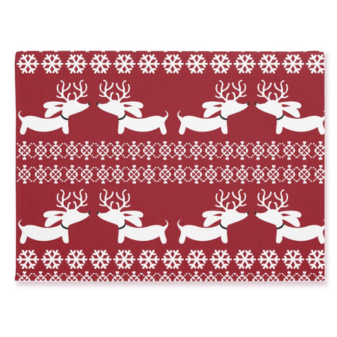 Fair Isle Christmas Dachshund Doormat