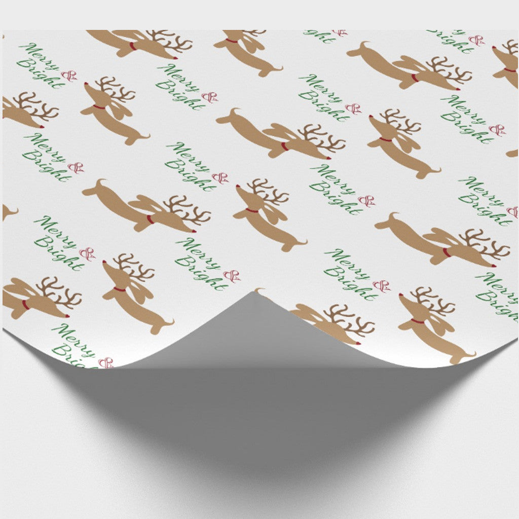 Merry & Bright Dachshund Wrapping Paper - The Smoothe Store