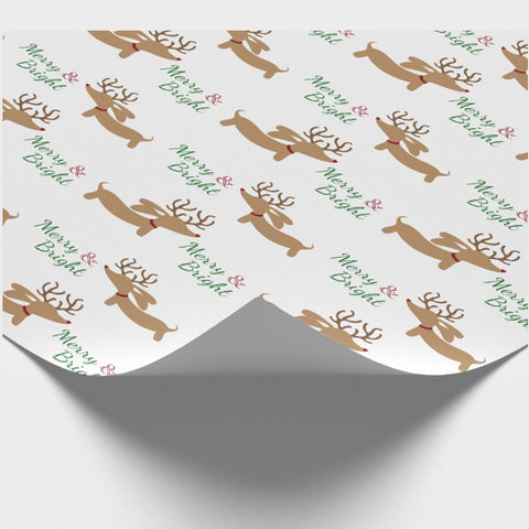 Merry & Bright Dachshund Wrapping Paper