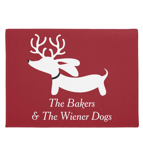 Personalized Reindeer Dachshund Christmas Doormat - The Smoothe Store