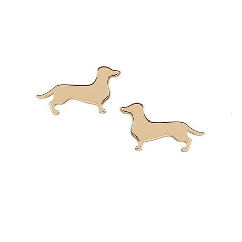 Chic Dachshund Earrings | Gold-Toned Studs