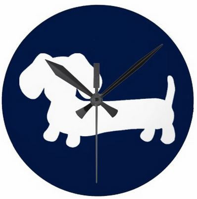 Navy Dachshund Wall Clock