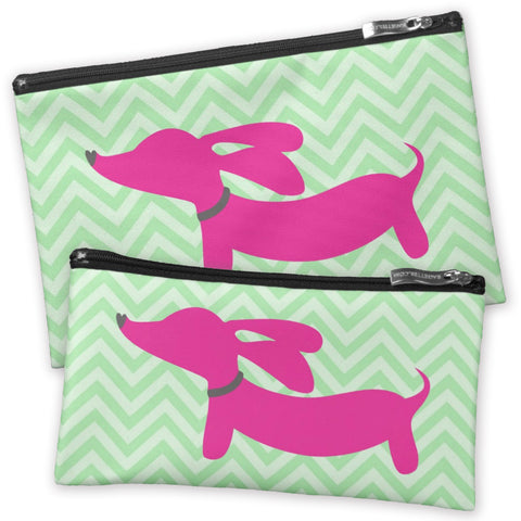 Pink Dachshund on Green Chevrons Accessory Bags