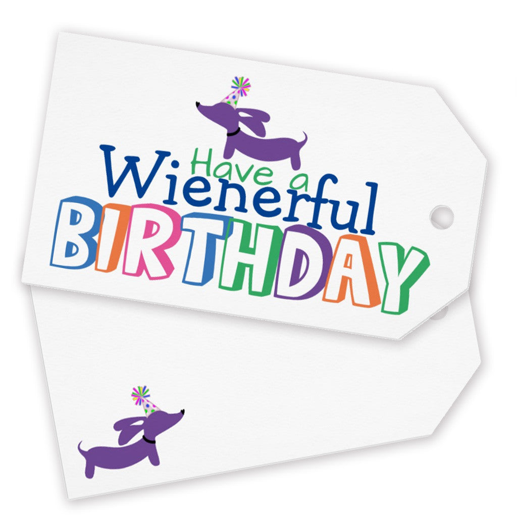 Wienerful Birthday Dachshund Greeting Card And Gift Tags The