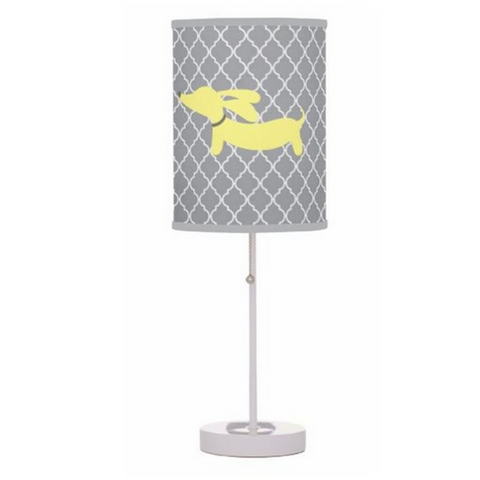 Yellow and Gray Sausage Dog Table Lamp