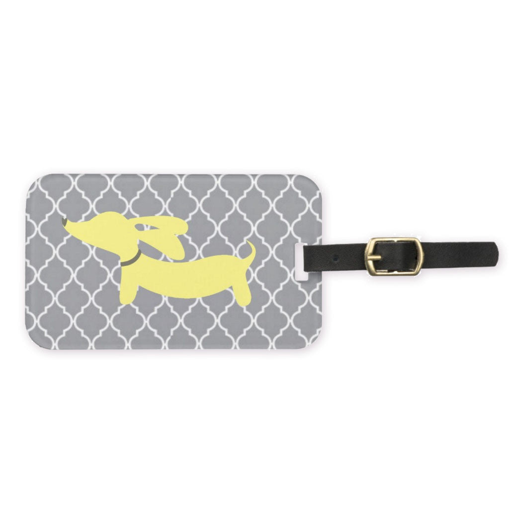 Dachshund Luggage Bag Tags - Pink, Blue or Yellow, The Smoothe Store