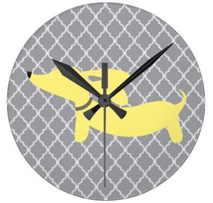 Yellow & Gray Dachshund Quatrefoil Wall Clock