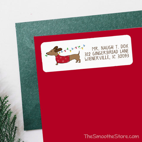 Dachshund Christmas Tree Lights Return Address Labels