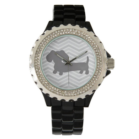 Black Rhinestone Accented Wiener Dog Watch