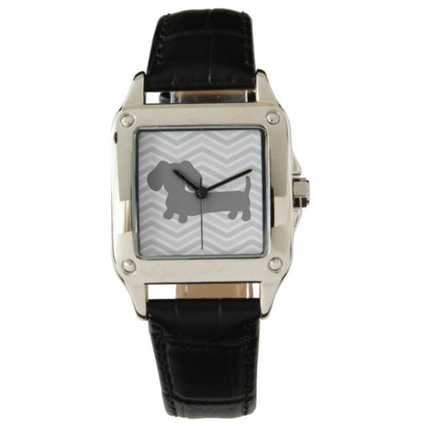 Black Leather Wiener Dog Watch with Gray Chevrons