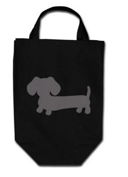 Dachshund Black Grocery Tote Bags, The Smoothe Store