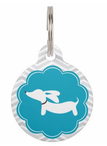 Dachshund on Scalloped Circle Dog ID Tags, The Smoothe Store