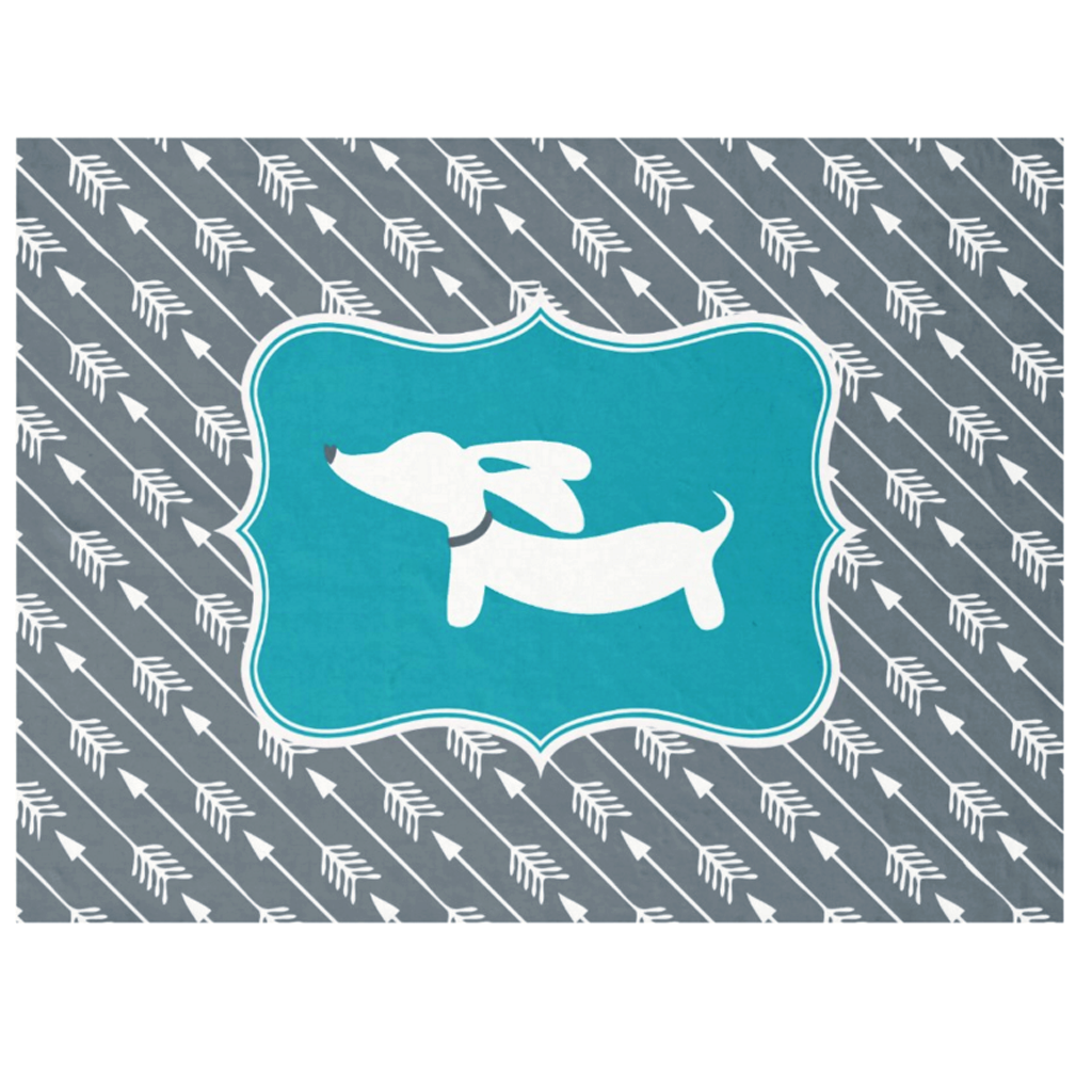 Teal Arrows and Dachshund Blanket, The Smoothe Store